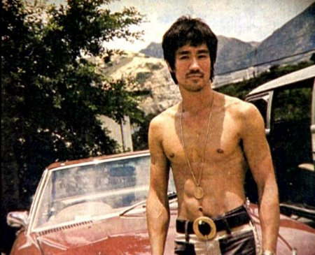 bruce lee shirtless red car