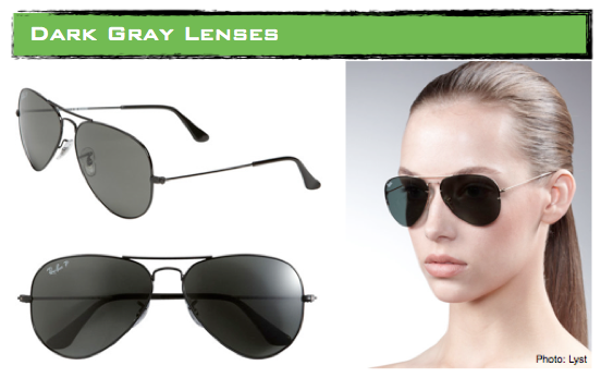lenses ray ban  green lens \u2013 by absorbing 85% of visible light and blocking out most of blue light, the green lens ensures the darkest coverage, better clarity of vision