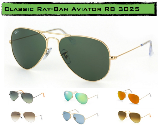 ray ban aviator 3025  over the years, ray ban