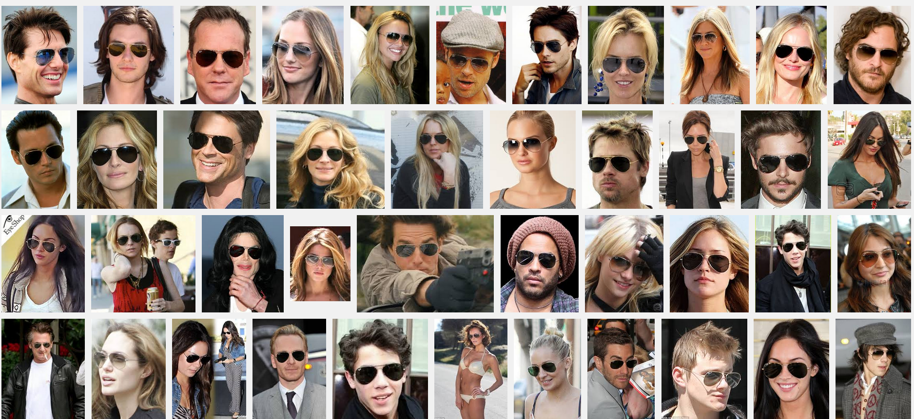 ray-ban aviators celebrities