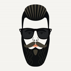 Cool beard hipster male with gelled back highlighted hair and black lenses sunglasses